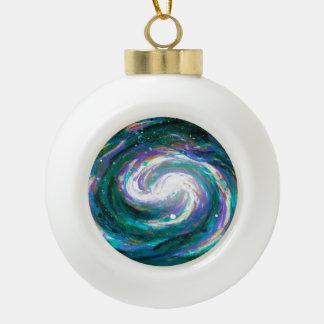 Boule En Céramique Galaxie verte et pourpre