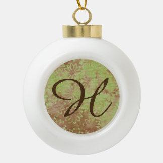Boule En Céramique Lettre verte H de boule de Noël de noix de coco de