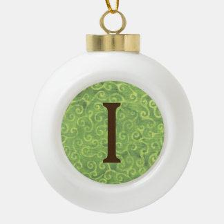 Boule En Céramique Lettre verte I de boule de Noël de noix de coco de