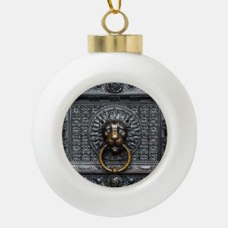 Boule En Céramique Lion de heurtoir - noir/or
