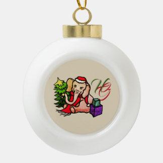 Boule En Céramique Noël doux de monogramme d'éléphants de Père Noël