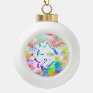 Boule En Céramique Portrait d'art d'aquarelle de chien de Malamute