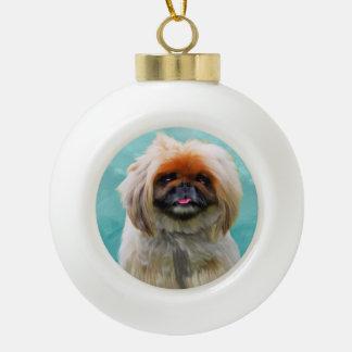 Boule En Céramique Portrait d'art d'aquarelle de chien de Pekingese
