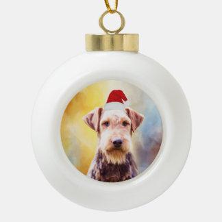Boule En Céramique Portrait d'art de casquette de Père Noël de Noël