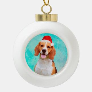 Boule En Céramique Portrait de casquette de Père Noël de Noël de