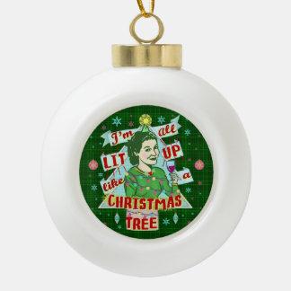 Boule En Céramique Rétro Lit potable de femme d'humour de Noël drôle