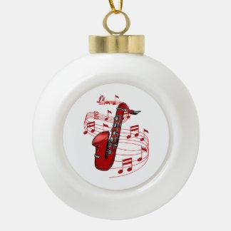 Boule En Céramique Saxo rouge avec des notes de musique