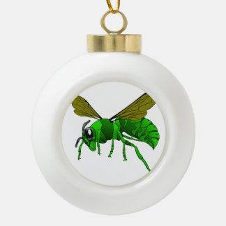 Boule En Céramique Vert de bande dessinée et abeille de guêpe de