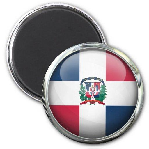 Boule en verre de drapeau de la République Dominic Aimants