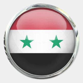 Boule en verre de drapeau de la Syrie Autocollant