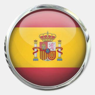 Boule en verre de drapeau de l'Espagne Sticker Rond