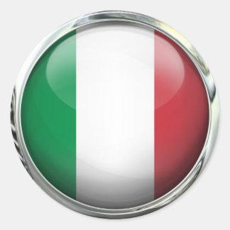 Boule en verre de drapeau de l'Italie Sticker Rond