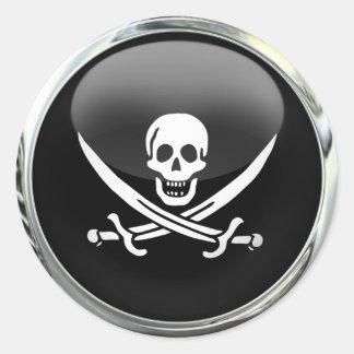Boule en verre de drapeau de pirate autocollants