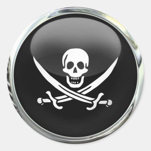 Boule en verre de drapeau de pirate autocollant rond