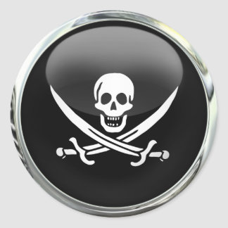 Boule en verre de drapeau de pirate sticker rond
