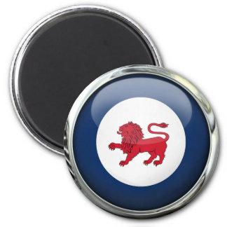 Boule en verre de drapeau d'état de la Tasmanie Magnet Rond 8 Cm