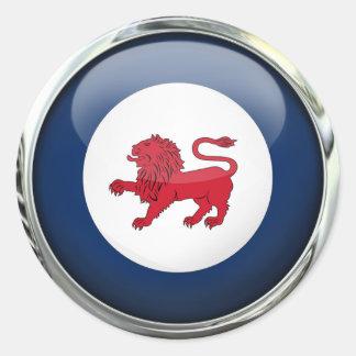 Boule en verre de drapeau d'état de la Tasmanie Sticker Rond