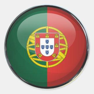 Boule en verre de drapeau du Portugal Sticker Rond
