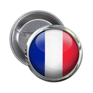Boule en verre ronde de drapeau de la France Badge Rond 5 Cm