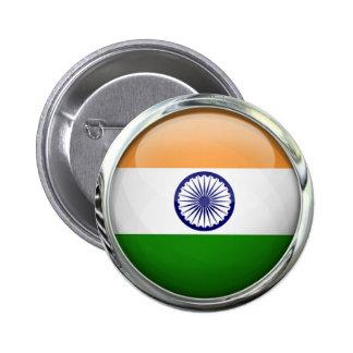 Boule en verre ronde de drapeau de l'Inde Badge