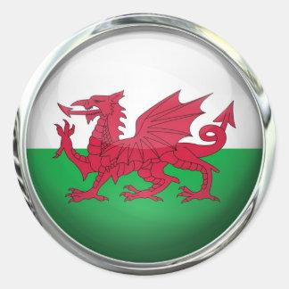 Boule en verre ronde de drapeau du Pays de Galles Sticker Rond