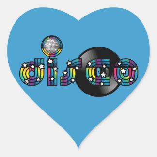Boule et disque vinyle reflétés par danse de disco autocollants en cœur