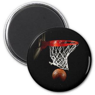 Boule et filet de basket-ball magnet rond 8 cm