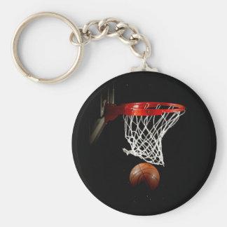 Boule et filet de basket-ball porte-clé rond