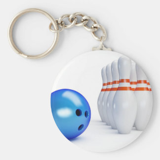 Boule et goupilles de bowling porte-clé rond