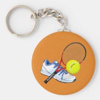 Boule et raquette de chaussure de tennis avec porte-clé rond