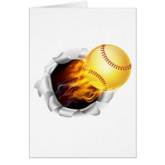 Boule flamboyante du base-ball déchirant un trou carte de vœux