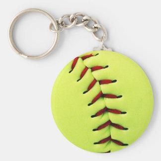Boule jaune du base-ball porte-clé rond