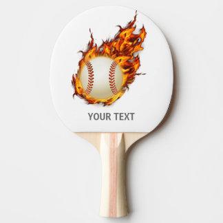 Boule personnalisée de base-ball sur la batte du raquette tennis de table