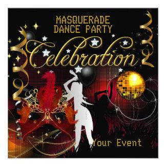 Boule rouge de disco de soirée dansante d or de MA Carton D'invitation