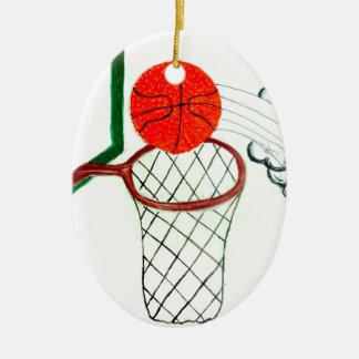 Boule Sketch2 de basket-ball Ornement Ovale En Céramique