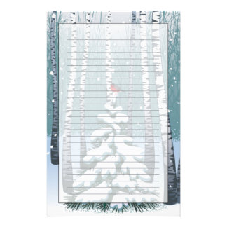 Bouleaux dans la forêt d'hiver papier à lettre personnalisé