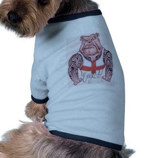 Bouledogue anglais avec le tatouage tribal t-shirt ringer pour chien