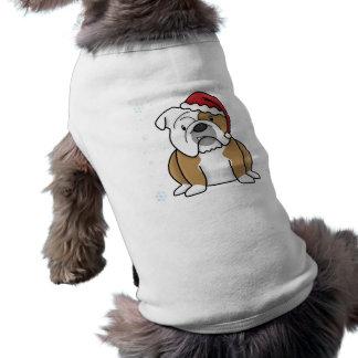 Bouledogue de l'anglais de Kawaii de Noël T-shirt Pour Animal Domestique