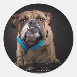 bouledogue DJ - le DJ poursuivent Sticker Rond