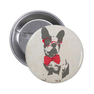 Bouledogue français animal vintage à la mode drôle badge