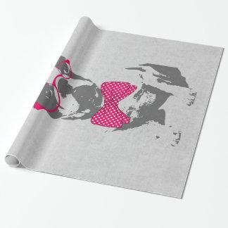 Bouledogue français animal vintage à la mode drôle papier cadeau