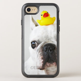 Bouledogue français avec le canard en caoutchouc coque otterbox symmetry pour iPhone 7