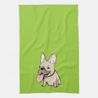 Bouledogue français drôle avec la langue énorme serviettes éponge