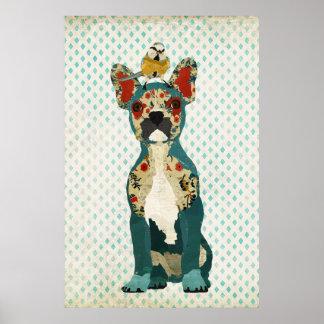 Bouledogue français et petite affiche d'art