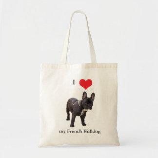 Bouledogue français j aime le coeur sac fourre-t