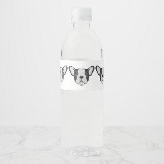 Bouledogue français mignon d'illustration étiquette pour bouteilles d'eau