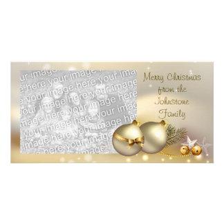 Boules, Bells et étoiles d'or Carte Avec Photo