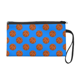 Boules de basket-ball de Brown sur le bleu azuré Pochette Avec Dragonne