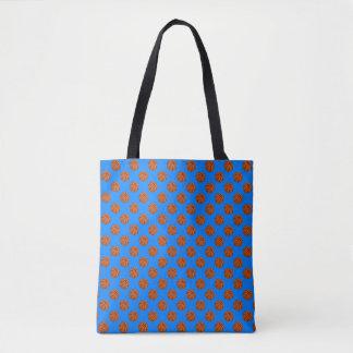 Boules de basket-ball de Brown sur le bleu azuré Tote Bag