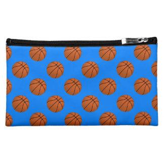 Boules de basket-ball de Brown sur le bleu azuré Trousse À Maquillage